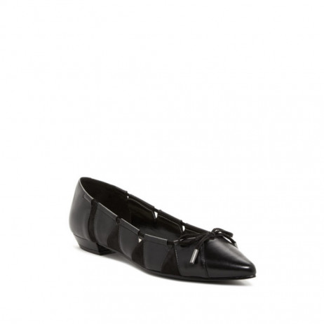 Nine West Womens Tallett Black Leather and Suede Flat