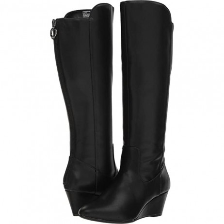 Amy Black Faux Leather Anne Klein Wedge Boots