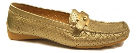 Loadmoc Ale Gold Leather Stuart Weitzman Loafers