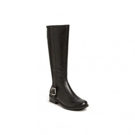 Me Too Women's Dane Black Leather Flat Riding Boot