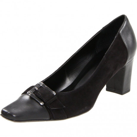 Vaneli Women's Hetty Black Leather and Suede Pump