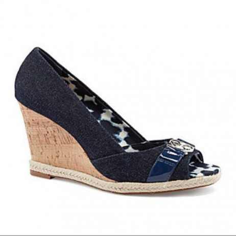 Arturo Chiang Women's Ralin Denim Patent Peep-Toe Wedges