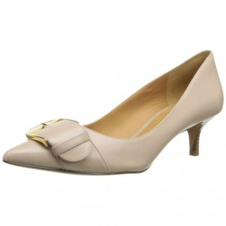 Nine West Women's Paylette Light Taupe Leather Buckle Pump