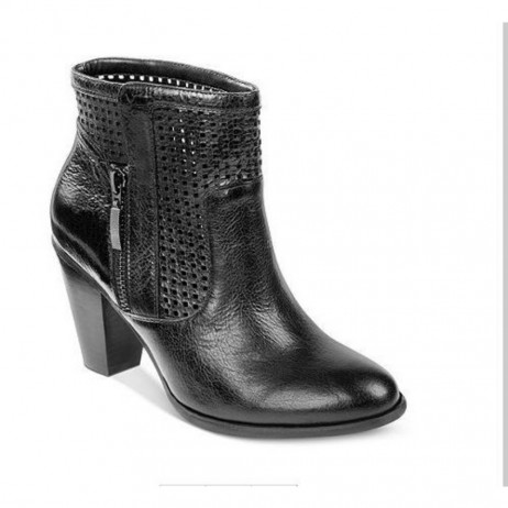 Me Too Adam Tucker Women's Brandi Black Leather Perforated Ankle Boot