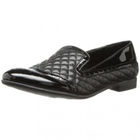 Franco Sarto Women's Tweed Black Quilted Leather Loafer Flat