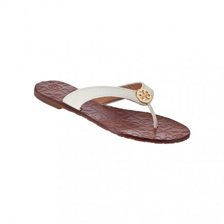 Tory Burch Women's Thora Bleach White Leather Flat Flip-Flop Gold Logo