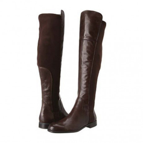 Franco Sarto Women's Motor Over the Knee Brown Leather Flat Boot