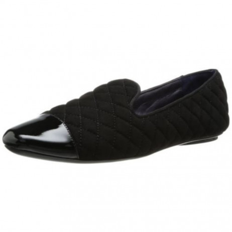 VANELi Women's Brucie Black Suede Quilted Smoking Slipper Flat