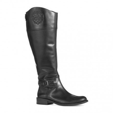 Vince Camuto Women's Kable Black Leather Riding Boot Wide Calf