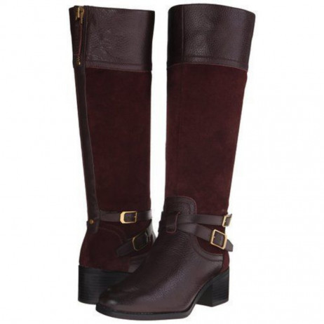 Franco Sarto Women's Lapis Brown Leather and Suede Riding Boot