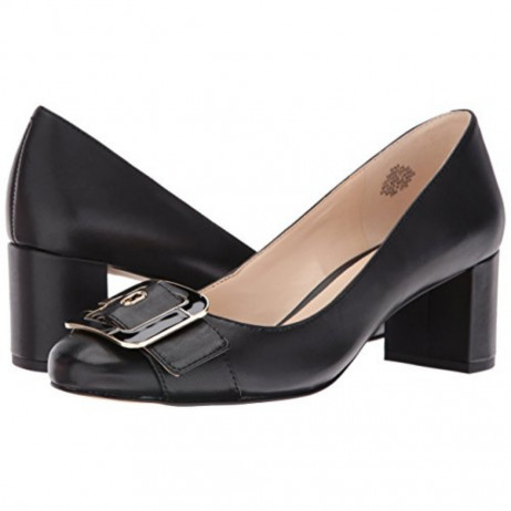 Widlyn Black Leather Nine West Mid Heel Pump