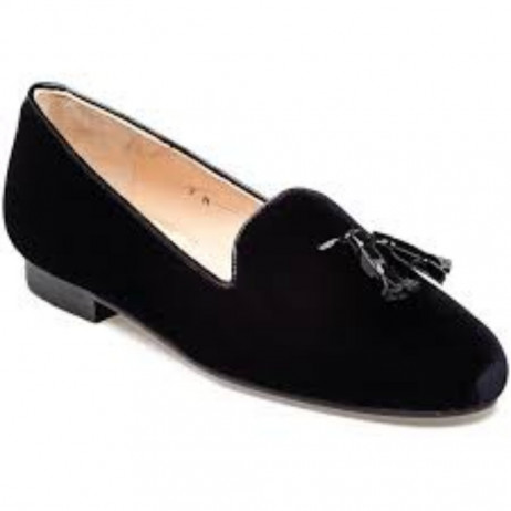 Jon Josef Womens Gentry Black Velvet Loafer Flat