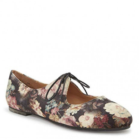 Cacey Black Floral Me Too Flat I-1-112235