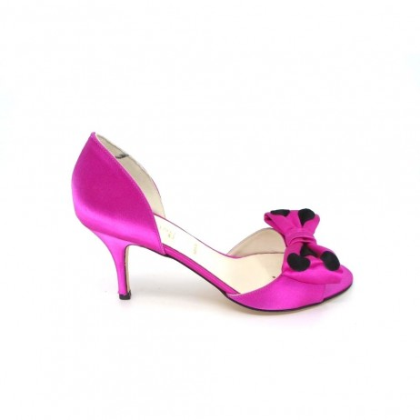 Car Hot Pink d'Orsay Satin Something Bleu Pump