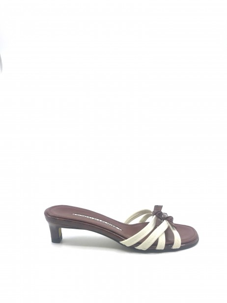 Hunt White Fabric and Brown Tortoise Patent Donald Pliner Sandal