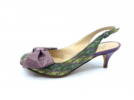 Sage Green and Purple Fabric and Patent Butter Slingback Pumps