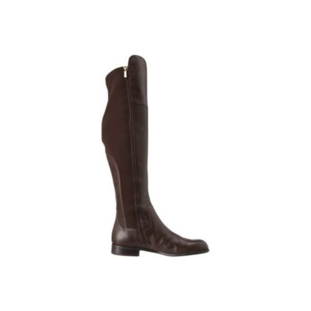 17e2bc7f3fd52 Franco Sarto Women's Motor Over the Knee Brown Leather Flat Boot