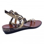 Lanvin Spring 2012 Flat Black and White Snake Leather Chain Strap Sandals
