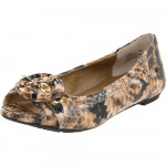 Me Too Women's Florence Cream Black Snake Leather Flat