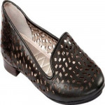 Me Too Women's Alla Black Leather Perforated Loafer Flat