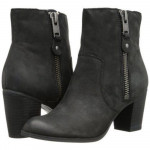 Franco Sarto Women's Yogi Black Leather Ankle Flat Boots
