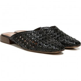 Van 3 Black Woven Leather Franco Sarto Mule