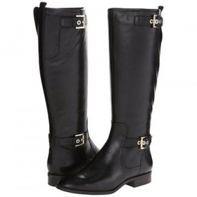 Nine West Women's Bringit Black Riding Leather Boot