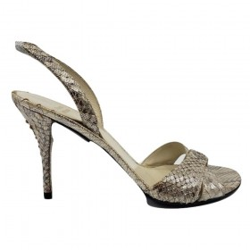 Stuart Weitzman Bronze and Silver Leather Slingback Sandals