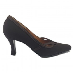 7010 Crepe Marrone Brown Fabric Versani Pumps-6.5 M