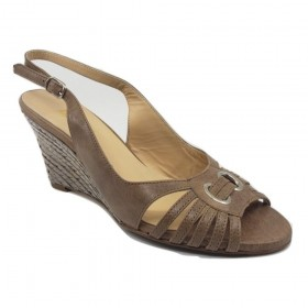 Anna z89 Coccinelle Ibis Taupe Bettina Wedge Sandal
