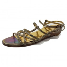 Stuart Weitzman Iridescent Low Wedge Flat Sandals