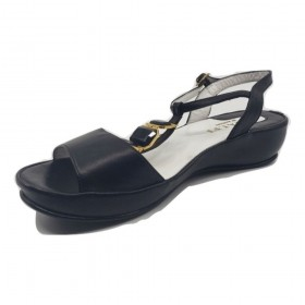 Brenta Black Leather Amafli Wedge Sandal