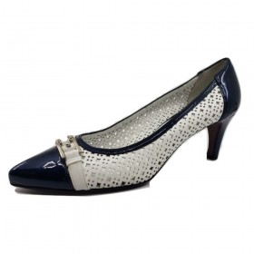 Trani White Perforated Leather and Navy Patent Leather Amalfi Pumps