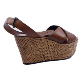 Lanvin SS 12 Tan Python Wedge Leather Sandals
