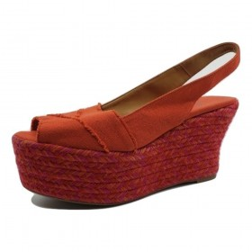Castañer Pink and Red Fabric Raffia Wedge Sandals