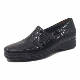 Ria Anthracite Crocodile Patent Leather Semler Loafer Flats
