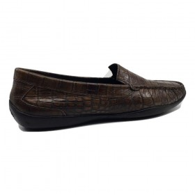 1139002 Brown Crocodile Leather Vogue AGL Flat Loafers