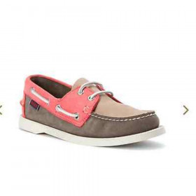 Sebago Women's Spinnaker Taupe Grey Leather Boat Shoe