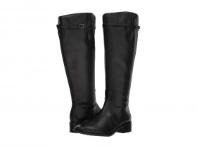 Belaire WC Black Leather Franco Sarto Riding Wide Calf Boots