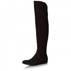 Dished Black Suede Over the Knee Butter Boots
