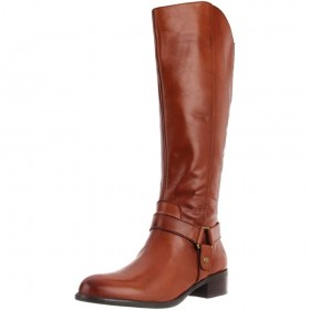 Franco Sarto Women's Clint Brown Leather Wide Calf Boots