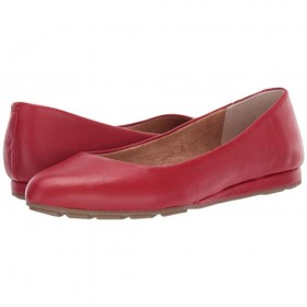 Alina Red Leather Me Too Wedge Ballet Flat
