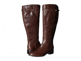 Belaire WC Brown Leather Franco Sarto Riding Wide Calf Boots