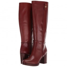 Kendra WC Rust Leather Franco Sarto Wide Calf Boots