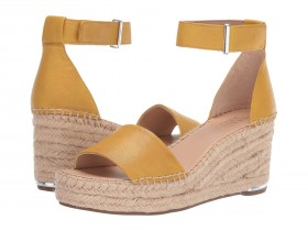 Clemens Summer Yellow Leather Franco Sarto Wedge Sandals