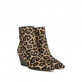 Athens Sahara Leopard Camel Calfhair Franco Sarto Ankle Wedge Boots