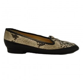 David Black Snake Print Leather Jon Josef Flat