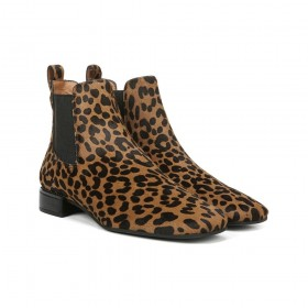 Heather Whiskey Leopard Calf Hair Franco Sarto Ankle Boots