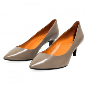 Via Spiga Womens Angie Mushroom Gray Leather Pumps