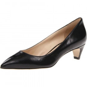 Nine West Women's Fanesa Black Leather Low Heel Pump